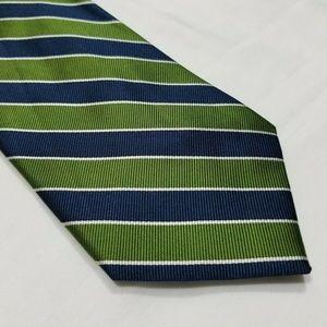 Blue, Green & White Striped J CREW Silk Tie